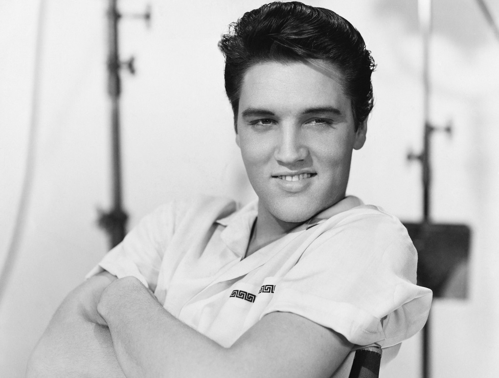 Portrait of Elvis Presley.
