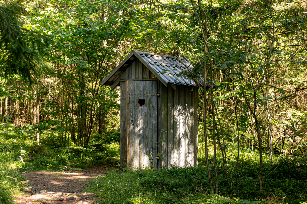 Outhouse in the woods.